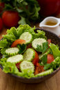 Fresh vegetable salad in a wooden bowl Royalty Free Stock Photography