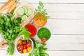 Fresh vegetable smoothie. Tomato, cucumber, carrot Royalty Free Stock Photo