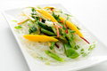 Fresh vegetable stir fry with sliced mango over glass noodles Stock Photography