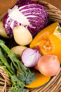 Fresh Vegetables in Basket Stock Photo
