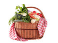 Fresh vegetables in a basket variety of wicker Stock Photo