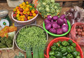Fresh vegetables in the basket vietnam colored at a street market Stock Image