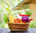 Fresh vegetables in the basket on wooden table Royalty Free Stock Photos