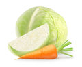 Fresh vegetables cabbage and carrot over white background Royalty Free Stock Photo