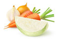Fresh vegetables cabbage carrots and onions coleslaw ingredients over white background Royalty Free Stock Photo