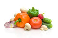 Fresh vegetables closeup white background ripe on horizontal photo Stock Image
