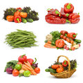 Fresh vegetables collage on white background Stock Photos