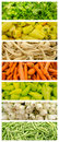 Fresh vegetables collection set in market collage Royalty Free Stock Photos