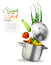 Fresh vegetables colorful in a stainless steel cooking pot Royalty Free Stock Photo