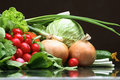Fresh Vegetables fruits and other foodstuffs. Stock Photography