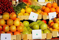 Fresh vegetables and fruits with price tag Royalty Free Stock Photography