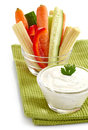 Fresh vegetables and garlic dip bowl of Stock Images