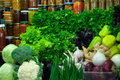 Fresh vegetables and greens on the market Royalty Free Stock Images