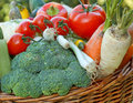 Fresh vegetables healthy food wicker basket full of and Royalty Free Stock Images