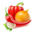 Fresh vegetables hot pepper bell pepper onion and garlic over white background Royalty Free Stock Images