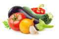 Fresh vegetables ratatouille ingredients over white background Royalty Free Stock Photos