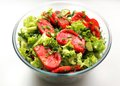 Fresh vegetables salad in a glass bowl Royalty Free Stock Photos