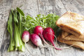 Fresh vegetables and sandwiches on the old wooden table onion radish dill salad horizontal snapshot Royalty Free Stock Image