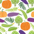 Fresh vegetables seamless background pumpkins peas artichokes and eggplant Stock Photo