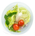 Fresh vegetables soak in water for healty food top view of Stock Photos