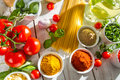 Fresh vegetables and spices in Italian cuisine Royalty Free Stock Image