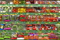 Fresh vegetables at supermarket assortment of for sale shelves Royalty Free Stock Images