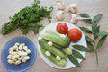 Fresh vegetables on table. Green Cucumber. Fresh, raw vegetables on the table