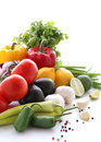 Fresh vegetables on a white background Stock Images