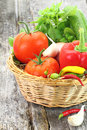 Fresh vegetables in wicker basket Royalty Free Stock Photography