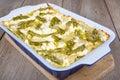 Fresh vegetarian lasagna with asparagus Royalty Free Stock Photo