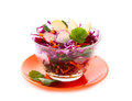 Fresh vegetarian salad with red cabbage Royalty Free Stock Photo