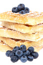 Fresh waffles with blueberries (clipping paths) Stock Image