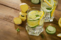 Fresh water with lemon, mint , ginger and cucumber  on a wooden Royalty Free Stock Photo