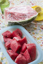 Fresh watermelon cubes Royalty Free Stock Photo