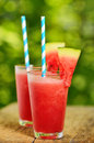 Fresh watermelon juice in summer time Stock Photos