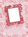 Fresh wedding pink floral frame illustration Stock Photo