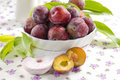 Fresh wet plums with leaves in the bowl Stock Photo
