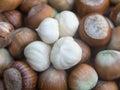 Fresh white hazelnuts kernel Royalty Free Stock Photo