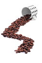 Fresh whole coffee beans out white coffee cups white background Royalty Free Stock Photography