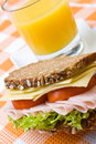 Fresh wholemeal cheese and ham sandwich Royalty Free Stock Photo