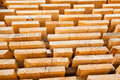 Fresh wooden studs stack of new at the lumber yard Stock Photo