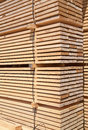 Fresh wooden studs stack of new at the lumber yard Stock Image