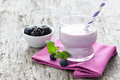 Fresh yogurt drink with blueberries Stock Photo