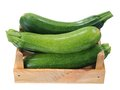 Fresh zucchini many in wooden crate Stock Photography