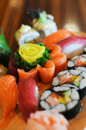 Only the freshest sushi will do an assortment of freshly made on a plate Stock Photo