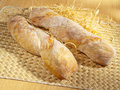 Freshly baked baguette on table Royalty Free Stock Image