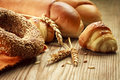 Freshly baked bakery products bread croissants Stock Images