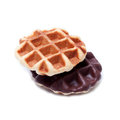 Freshly baked belgium waffles isolated on white background Royalty Free Stock Photo