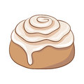 Freshly baked cinnamon roll with sweet frosting.