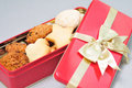 Freshly baked cookies in the holiday box Stock Photo